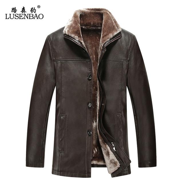 Real fur winter leather Coat men's leather jacket plus thick velvet men's warm wool fleece turn dowm collar Jaqueta de couro