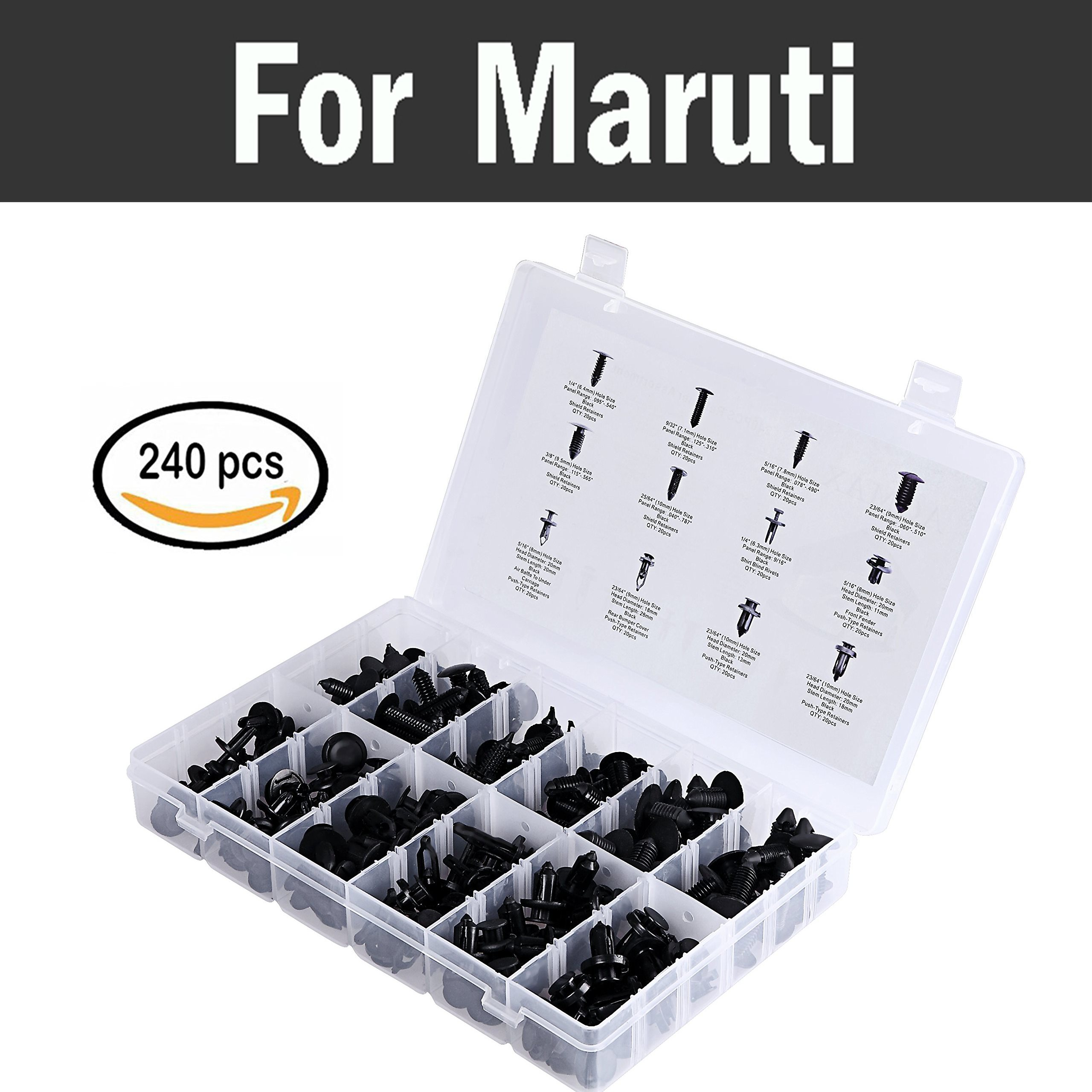 240pcs Car Retainer Rivet Clips Kit 12sizes Push Pin Rivets Set Rivets For Maruti 800 Alto Baleno Esteem Gypsy Zen