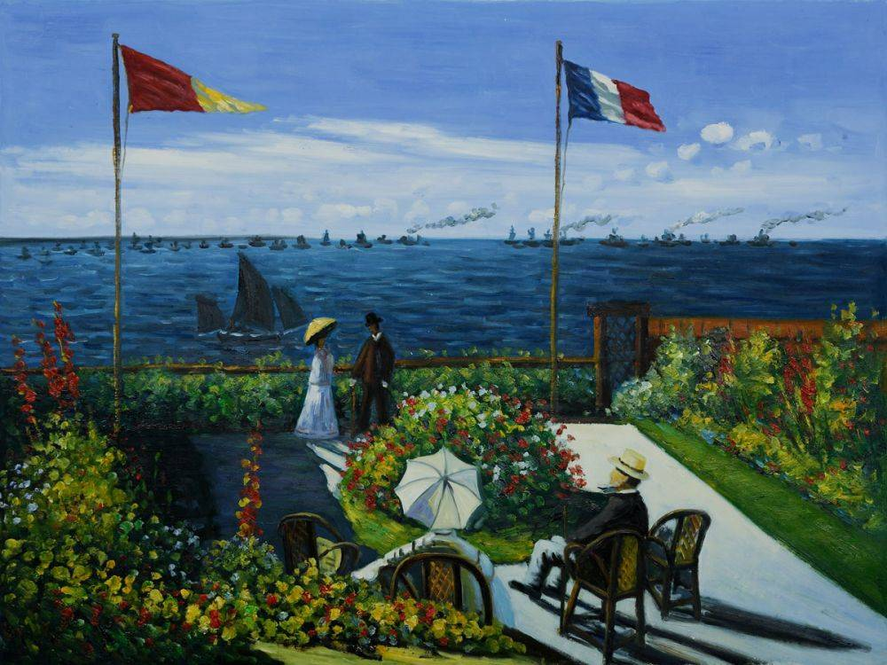 Handpainted Oil Canvas Painting Replica The Terrace at St. Adresse by Claude Monet Oil Painting for Living Room Decor Horizontal