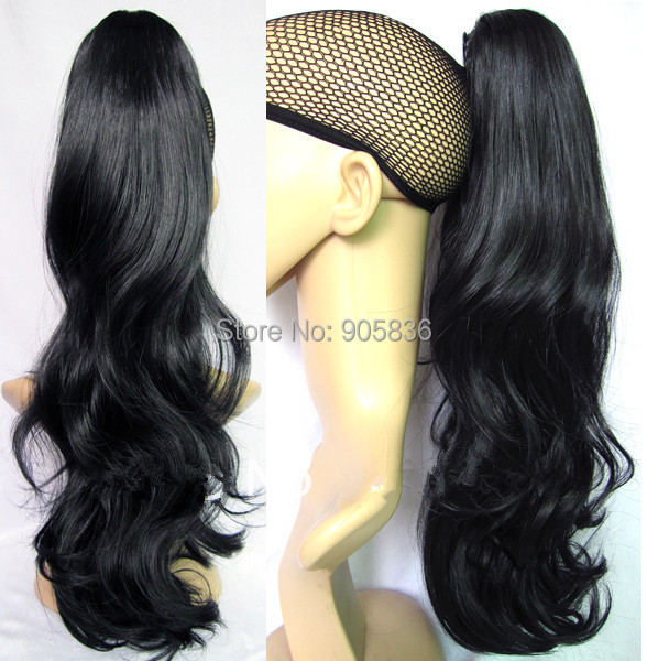 beautiful black wavy ponytail hairstyle Clip in indian remy human ...