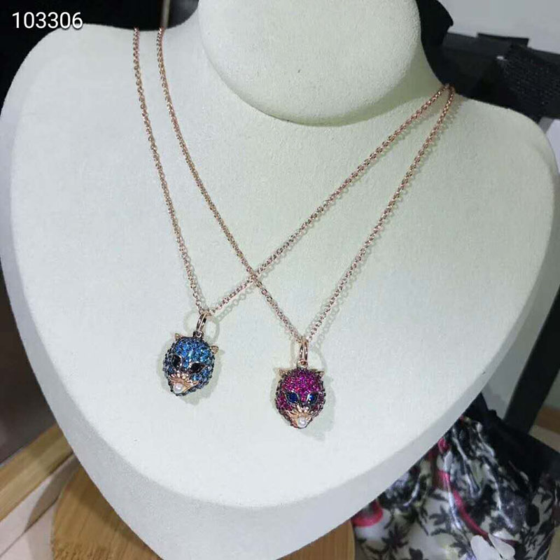 Brand Pure 925 Sterling Silver Jewelry Penther Necklace Red blue stone Pendant Party Silver Necklace