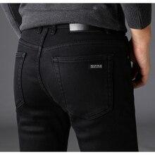 Marken Jeans Hosen Männer Kleidung Schwarz Elastizität Dünne Jeans Business Casual Männlichen Denim Dünne Hosen Klassische Stil 2018 Neue