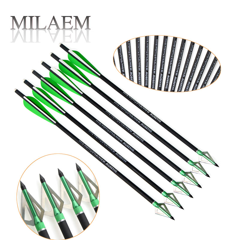 6/9/12PCS 16inch Mix Carbon Crossbow Arrow Blade Steel Fixed Arrowhead Outdoor Traditional Bow Sports Hunting Shooting Accessory ...