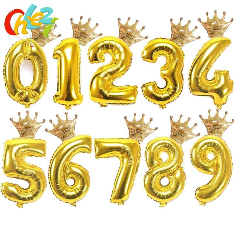 32 дюйма золотого, серебряного, черного цвета номер воздушный шарик из фольги в форме короны шар рисунок 1) 2 От 3 до 6 лет Детская Для мальчиков ...