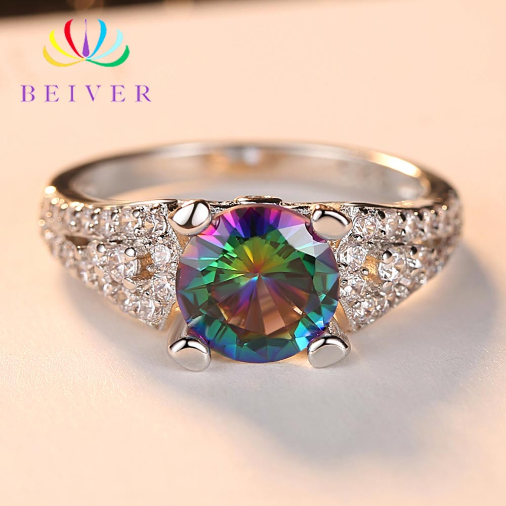 Beiver 2019 New Arrival White Gold Color Rainbow Round Zircon Promise Wedding Rings for Women Party Jewelry Ladies Gifts R567W-C