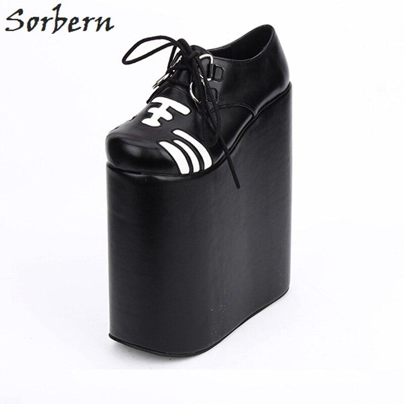 Sorbern Lolita Shoes Cosplay 22cm Thick Platform Women Pumps Lace-up Punk Shoes Custom Colors Ladies Platform Shoes COS japanese sailor lolita cosplay thick platform cross