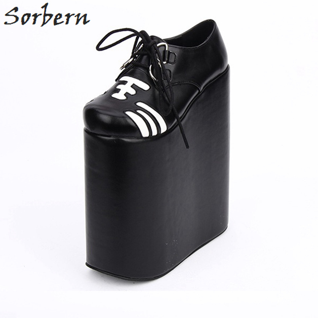 246ae4cedfa4 Sorbern Lolita Shoes Cosplay 22cm Thick Platform Women Pumps Lace-up Punk  Shoes Custom Colors Ladies Platform Shoes COS