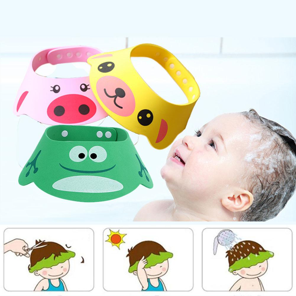 Lovely Adjustable Baby Hat Hair Washing Hat Baby Toddler Kids Shampoo Bathing Waterproof Ear Protection Baby Shower Caps