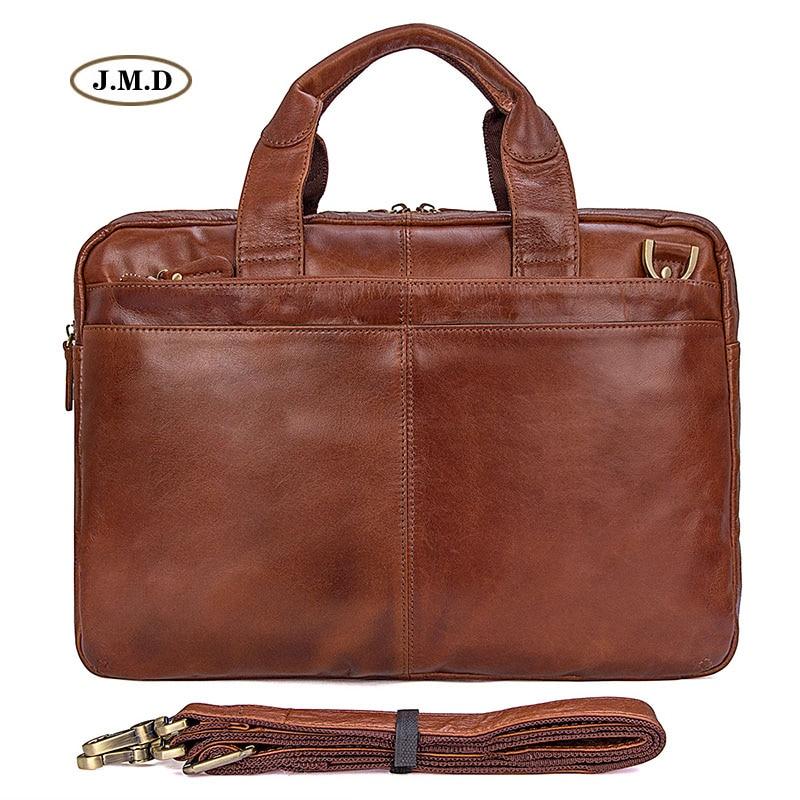 Augus New Arrivals Genuine Cow Leather Brown Men's Briefcase Laptop Bag Shoulder Bag Men's Fashion Handbag Men Briefcase 7092-2B