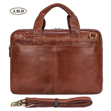 J.M.D New Arrivals Genuine Cow Leather Brown Men's Briefcase Laptop Bag Shoulder Bag Men's Fashion Handbag Men Briefcase 7092-2B недорого