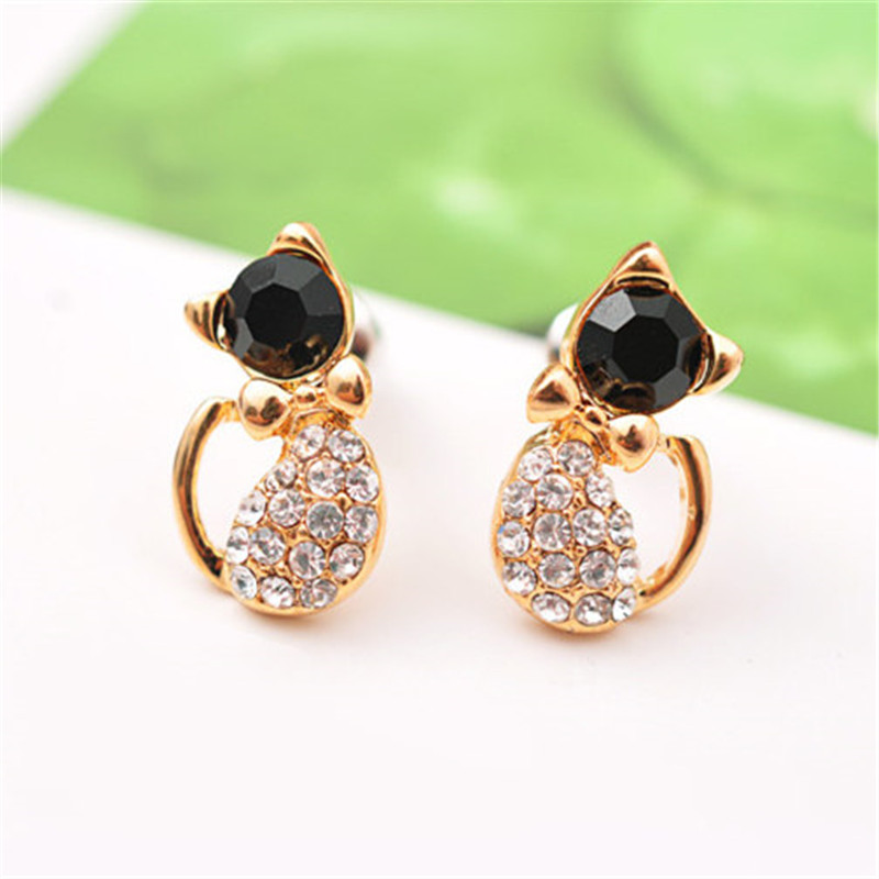 New Fashion Cute Lovely gold Color  Rhinestone Crystal Cat Earrings for Women Kids Crystal Earring Fashion Earrings wholesale