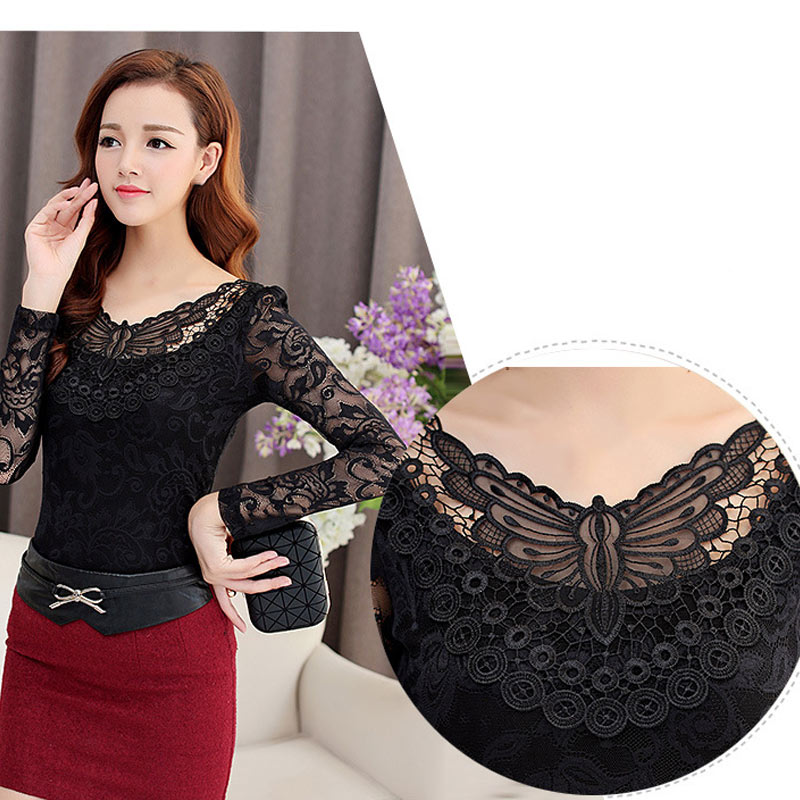 Black Butterfly Women Autumn Bottom Shirt Long Sleeves Lace Mesh V Neck Blouses shirts Female Tops FS99