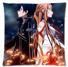 Custom Japanese Anime Cartoon Sword Art Online Kirito and Asuna Throw Square Pillow Case Creative Cushion Bedding Pillow Slips