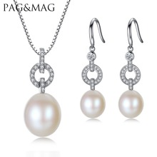 PAG MAG Brand Bridal 10 11 Rice Pearl Fine Jewelry Sets 925 Sterling Silver Women Gift