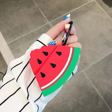3D Earphone Case For Airpods 2 Silicone Cartoon Fruits Watermelon Apple 1 Accessories Earpods Key ring