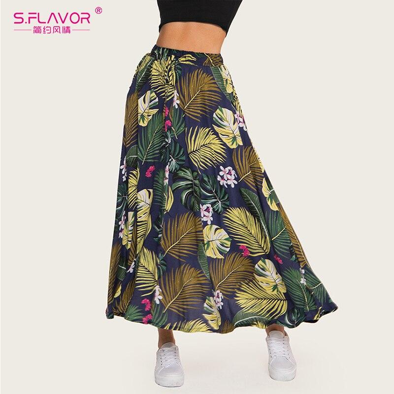 S.FLAVOR Floral Print Pleated Plus Size Stretch Midi Skirt Women High Waist Side Skirt Female Autumn Winter Skirt