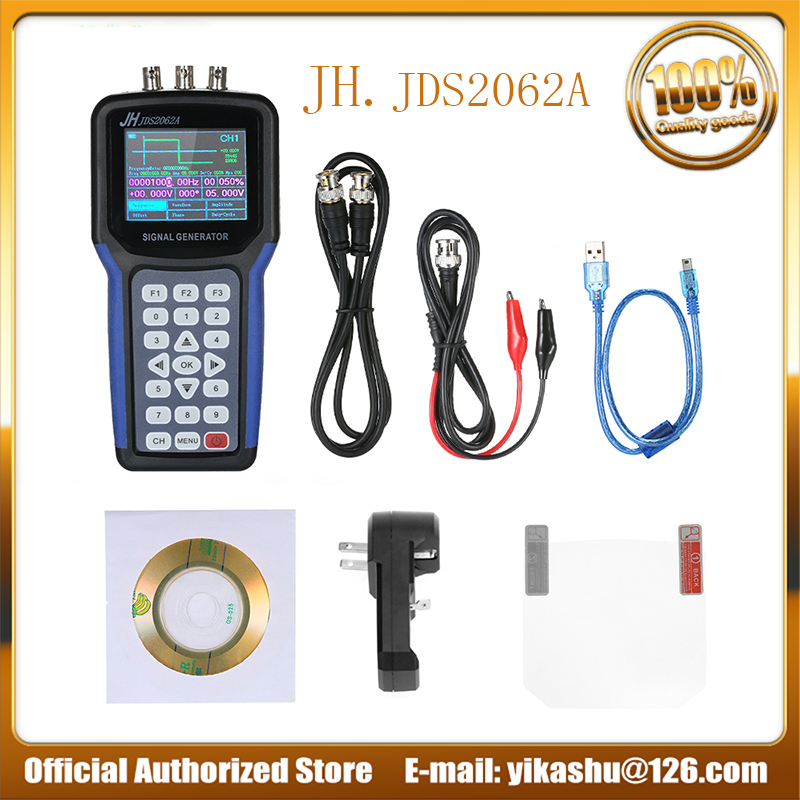 Jinhan JDS2062A Professional Handheld 30MHz Double Channel Digital Signal Generator Frequency Meter S4R2 AC110 220V