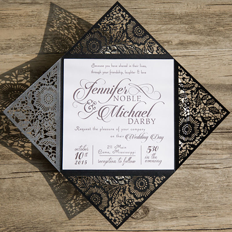 10 Kits Lace Black Wedding Invitaiton Cards Flower Lace Festivals Party Supplies Postcard Laser Cut Birthday Invitations Convite