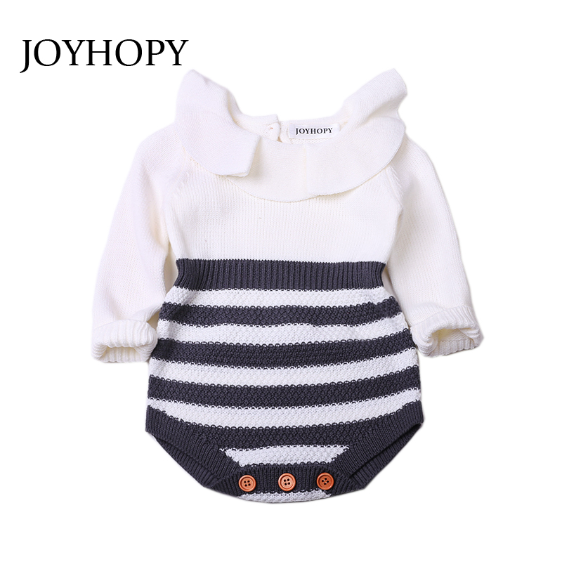 JOYHOPY Baby Romper Newborn Baby Clothes Kids Girls Long Sleeve Jumpsuit Infant Knitted Rompers newborn baby romper kid jumpsuit hooded infant outfit clothes long animal modelling baby rompers overalls of toddler body suit