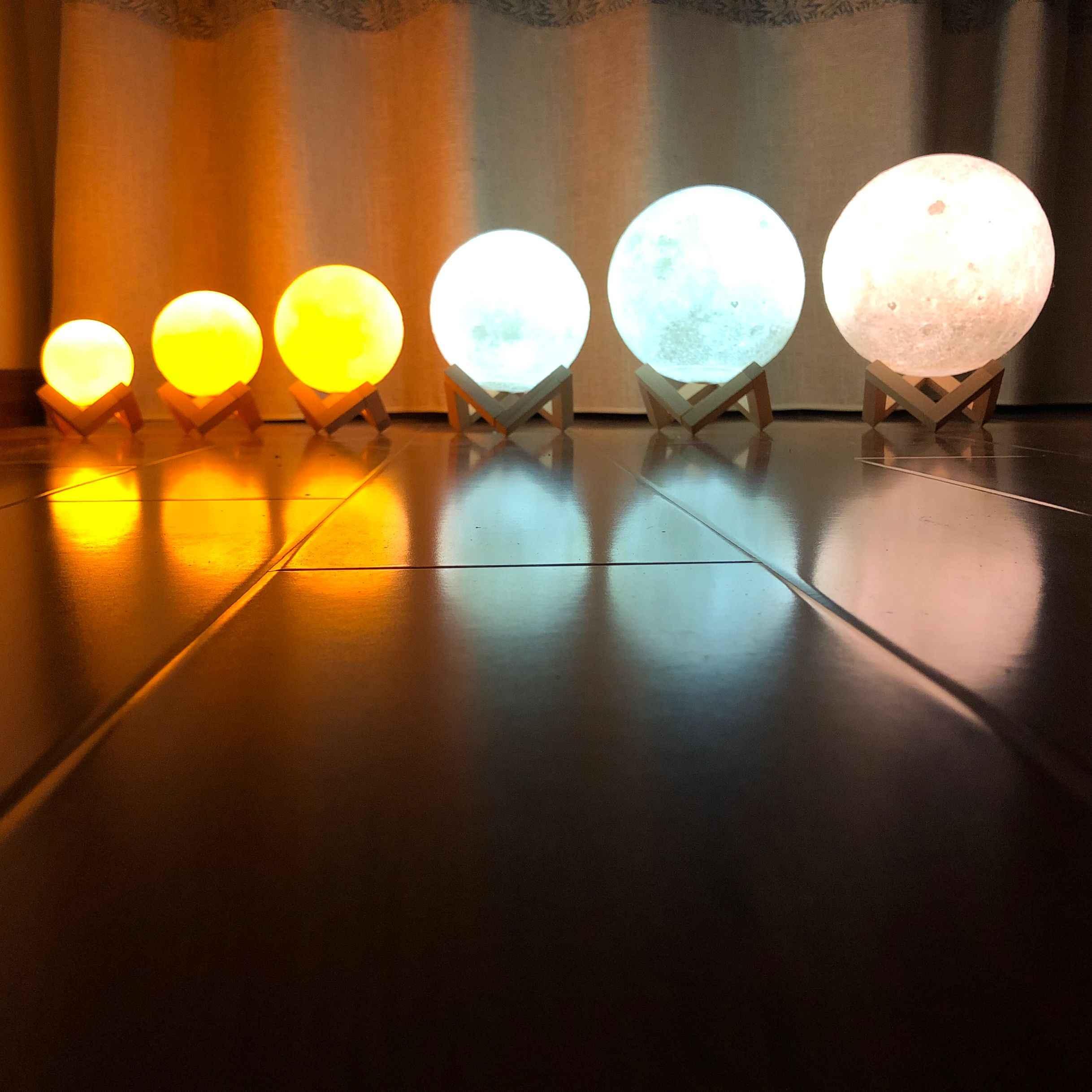 Прямая доставка 3D печать лампы в виде Луны 2 цвета светодиодный ночник для украшения дома на Рождество