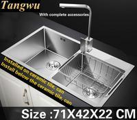Tangwu de Alto grado de superficie lisa 304 de acero inoxidable fregadero de la cocina de calidad alimentaria 4mm grueso manual de doble ranura 71X42X22 CM