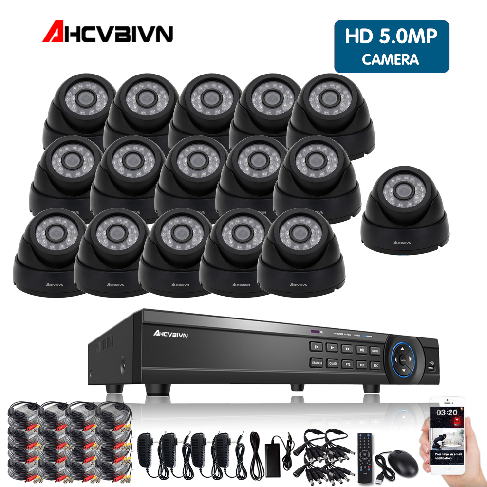 Home Security CCTV Camera System 16CH 5MP AHD DVR System Kit + 16PCS Leds 6M IR Night Vision Outdoor Dome 5MP AHD CameraHome Security CCTV Camera System 16CH 5MP AHD DVR System Kit + 16PCS Leds 6M IR Night Vision Outdoor Dome 5MP AHD Camera