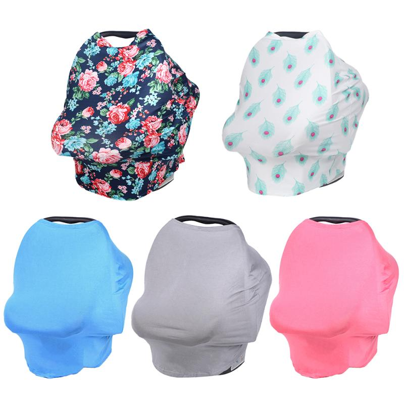 Baby Car Seat Cover Floral Multi-Use Stretchy Scarf Breastfeeding Shopping Cart Nursing Cover Baby Stroller High Chair Cover