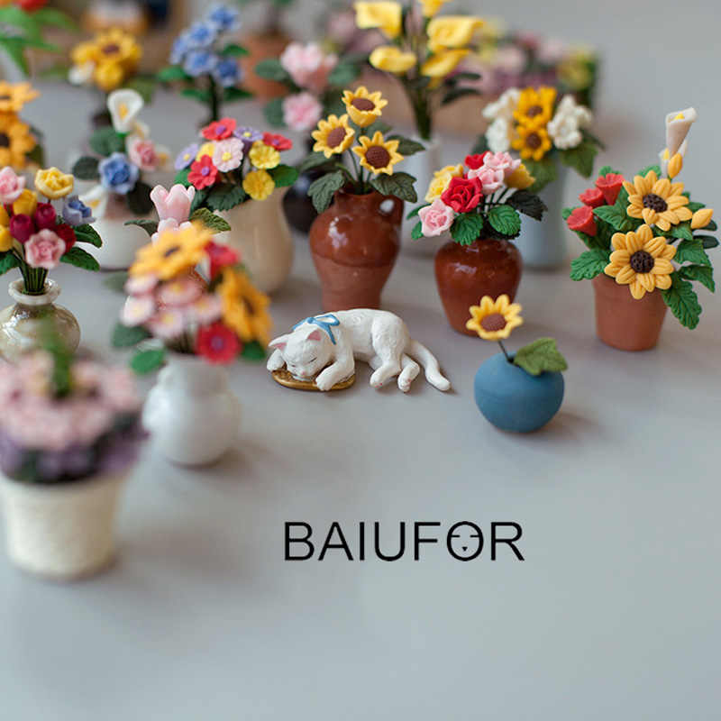 Mini Cute Flowers Fairy Garden Miniatures Gnomes DIY Doll House Decoration Terrarium/ Succulents/ Micro Landscape Decorations