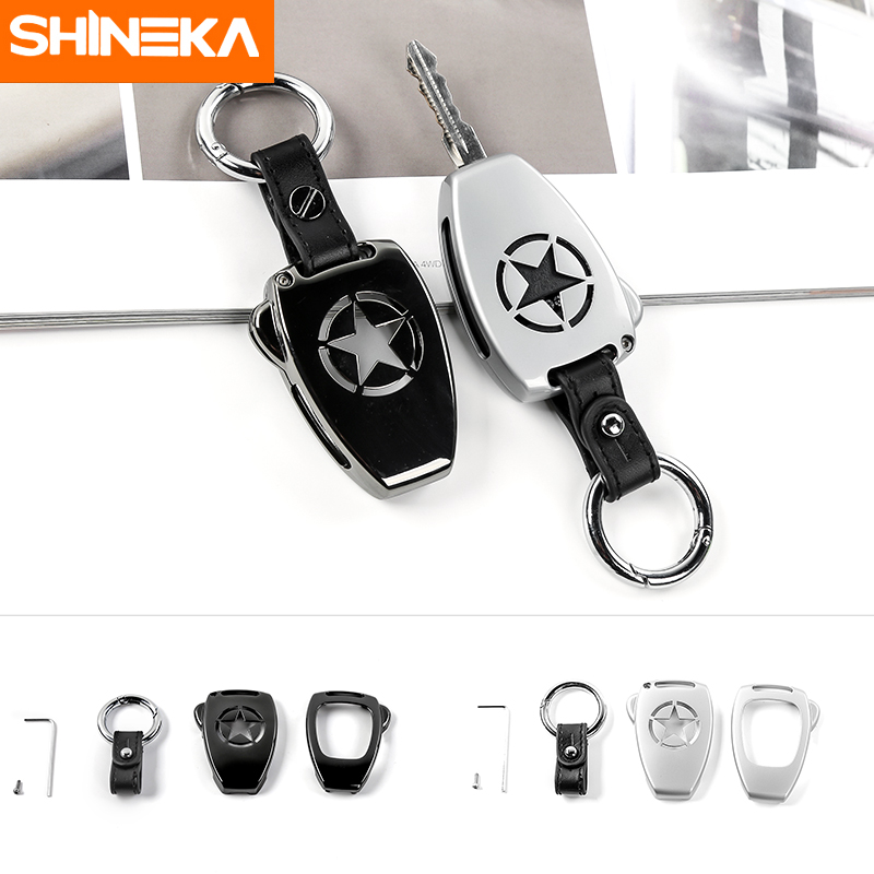 SHINEKA Car Zinc Alloy Key Chain Ring Key Case Cover Shell for Jeep Wrangler 08-17 Jeep Compass 08-15 Patriot 11-15 interior accessories steering wheel wiper turn signals pull rod operating lever cover sticker for jeep patriot compass wrangler