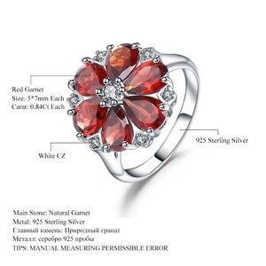 Image 5 - 보석의 팔찌 5.05Ct 자연 붉은 가닛 칵테일 반지 여성을위한 925 스털링 실버 보석 빈티지 꽃 반지 파인 쥬얼리