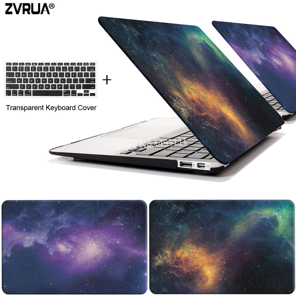 ZVRUA STAR laptop Case for MacBook Air 11 13 inch for APPLE MAC Pro with Retina 12 13.3 15 with Touch Bar New + keyboard cover crystal case for apple macbook air 13 3 11 pro 13 12 15 retina laptop print cover 2016 2017 new touch bar model keyboard cover