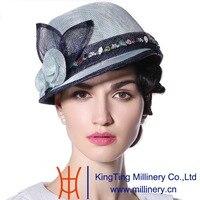 June'syoung 2015 Estate New Fashion Sinamay Cappelli 100% Set Coclea Pizzo Sinamay Cappello di Estate Signora Elegante Nobile di Lusso Fedora Casuali