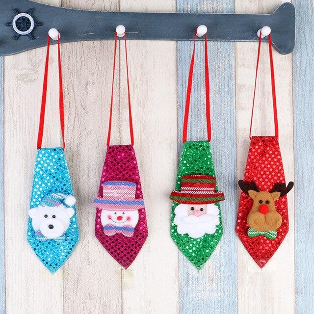 Creative Christmas Sequins Tie Santa Claus Snowman Elk Pattern Xmas Children Decoration Hanging Ornaments Gift Toys JK273