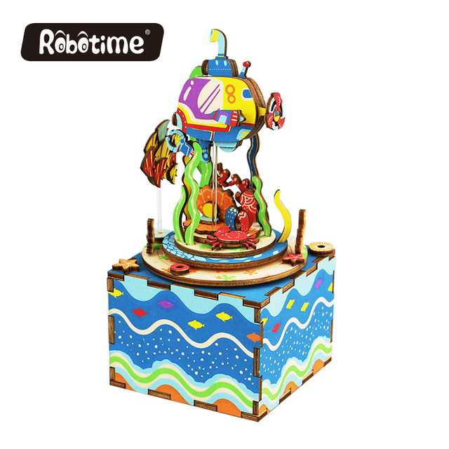 Free Shipping Robotime 3D Puzzle DIY Assembling Toys Wooden bar promotional gift Girl Friend Music Box Under The Sea AM406
