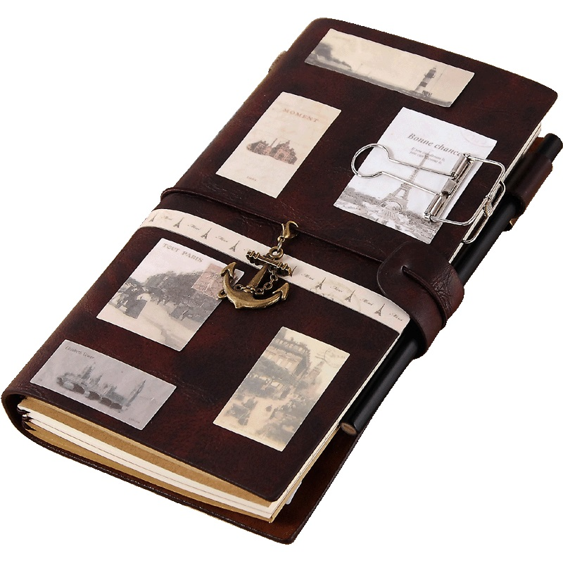 Travel Journal Diary Notepads Sprial Recording Daily Memos Notebooks Leather Traveler Notebook Planners Creative Vintage Gifts