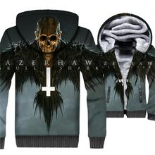 Music Punk Rock Jacket Men Flame Skull 3D Hoodies Swag Sweatshirt 2018 New Design Winter Thick Fleece Warm Zipper Gothic Coat