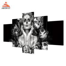 Artryst canvas painting ideas Mexican dark horror witch skull faces art 5 pieces canvas painting with frame for living room