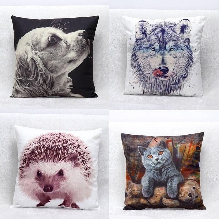 Hot Sale Beautiful & Cute Seat Waist Pillows 3D Animals Dog Cat Lion Shape Pillow Case Short Floss Back Throw Pillow Cover