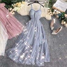 femme ete 2019 summer beach dress sundress sweet sequined v-neck mesh midi elegant ladies dresses
