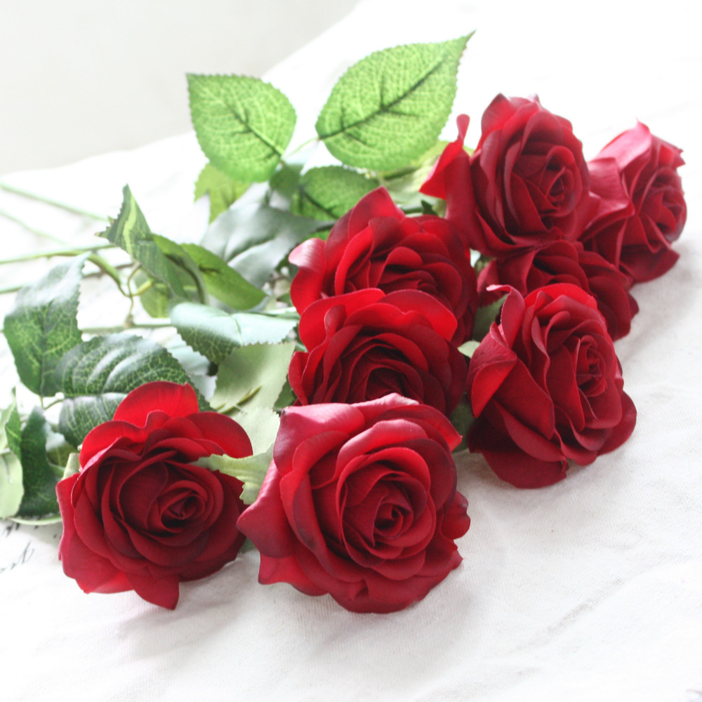 10pcs 11pcs/Lot Silk Rose Artificial Flowers Real Touch Rose Flowers For New Year Home Wedding Decoration Party Birthday Gift