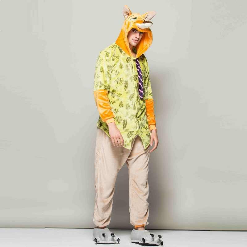 Zootopia лиса Ник Onesie 2019 для рождественской вечеринки одна деталь Kigurumi комбинезоны взрослая Пижама зимний комбинезон для мужчин Pijama Hombre