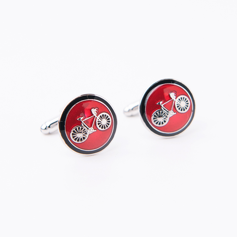 Free Shipping 3 Color Enamel Cufflink Bike and tie clips set fashion Cuff Link for men Wholesale&retail(China)