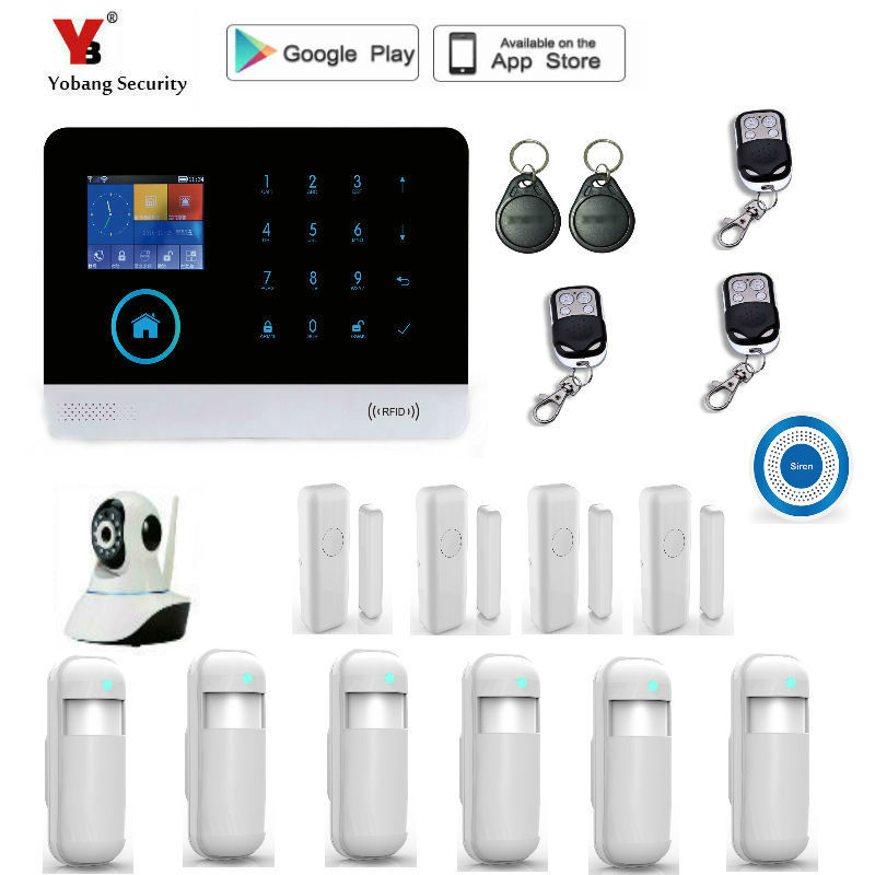 Yobang Security Wireless Home Security GSM WIFI GPRS Alarm System IOS Android APP Remote Control PIR Sensor Door Sensor kit yobang security rfid gsm gprs alarm systems outdoor solar siren wifi sms wireless alarme kits metal remote control motion alarm
