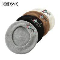 Bhesd 2017 100% шерсть Для женщин берет осень сова Вышивка французский художник зима Шапки модная одежда для девочек boina осень casquettes Bone JY-628