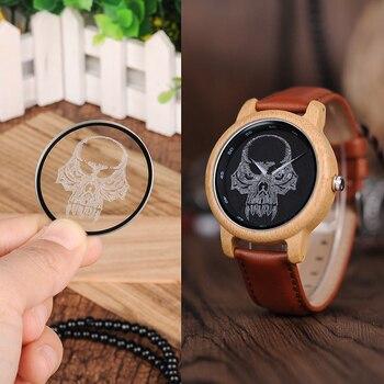 BOBO BIRD WP24 Simple Bamboo Watch for Men Women Cool Skull Design on Glasses Quartz Wristwatch Women Quartz Watches