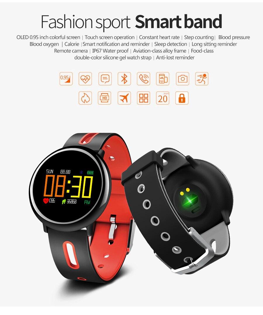 OLED surveillance de la pression artérielle fréquence cardiaque montre intelligente femmes hommes étape vélo Smartwatch Facebook Whatsapp rappel brassard