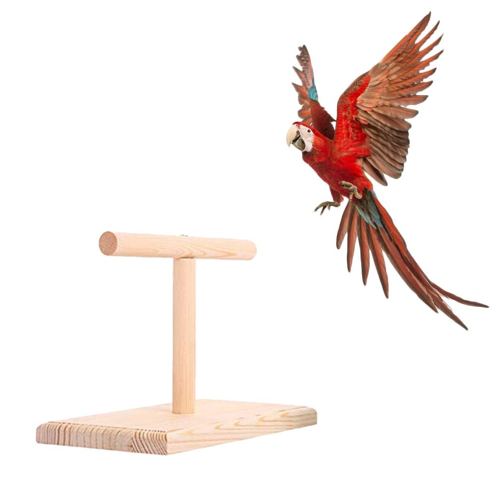 Birds Perch Parrot Play Toys Stand Holder Natural Wooden Bird Hanging Toy Office Wooden Stand Ave Bite Toy Springboard