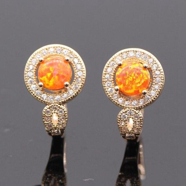 Beautiful Fire Opal Earring 925 silver needles Ear 5colors Fire Opal&Cubic Zirconia Earrings For Women