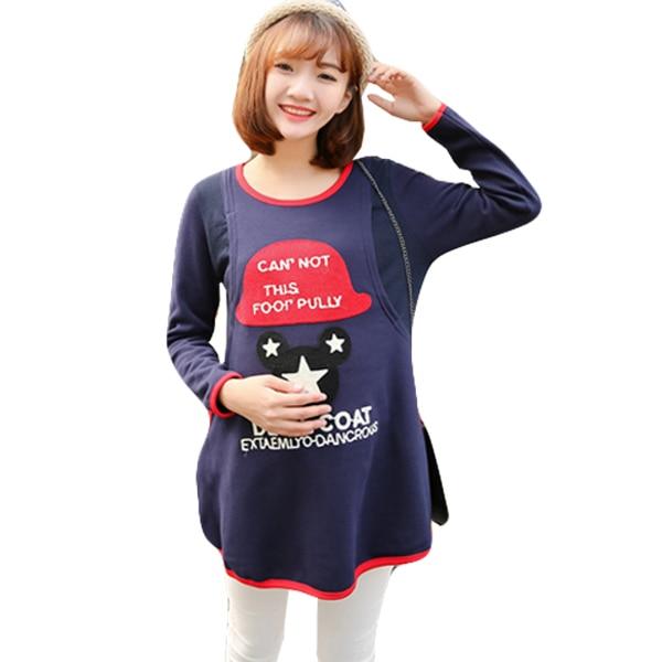 Autumn Winter Warm Nursing Clothes Plus Velvet Maternity Shirts Breastfeeding Tops T-shirts Nursing Top T shirts Blouses