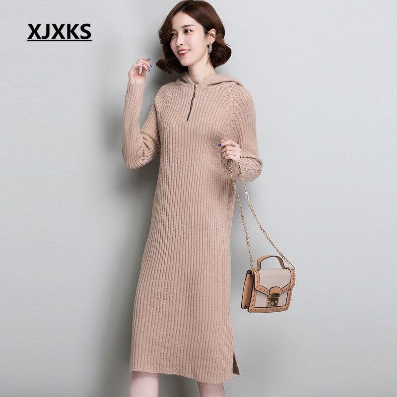 5a0d41ca426 bleu Noir D hiver Pull bourgogne Qualité Xjxks Capuche Mode kaki 2019  Femmes Col Long Confortable De Haute Chaud Cachemire Nouvelle Tricoté Robe  gqBwBTUAW